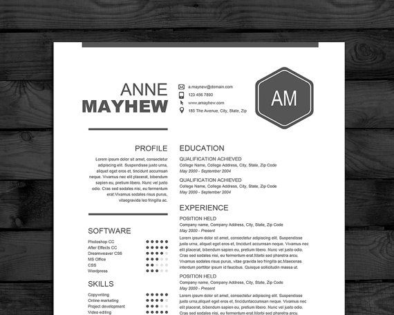 Modern Resume Template For MS Word \ Pages 3 pages With Cover - pages resume templates free