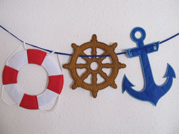 Nautical theme banners in the hoop machine embroidery applique