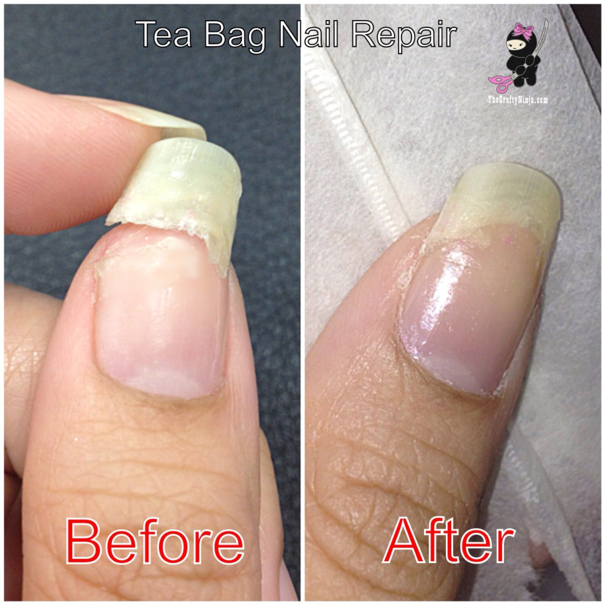 Another quick way to repair a broken nail w tea bag nail for How to fix a broken nail with a tea bag