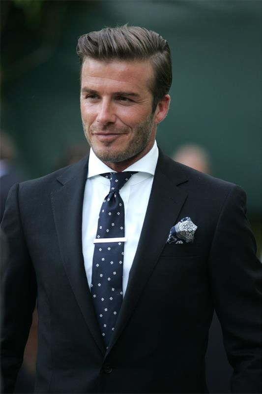 27aa6dfe56ea tie clip, pocket silk, spread collar. You too can look like David Beckham.  No, not really.