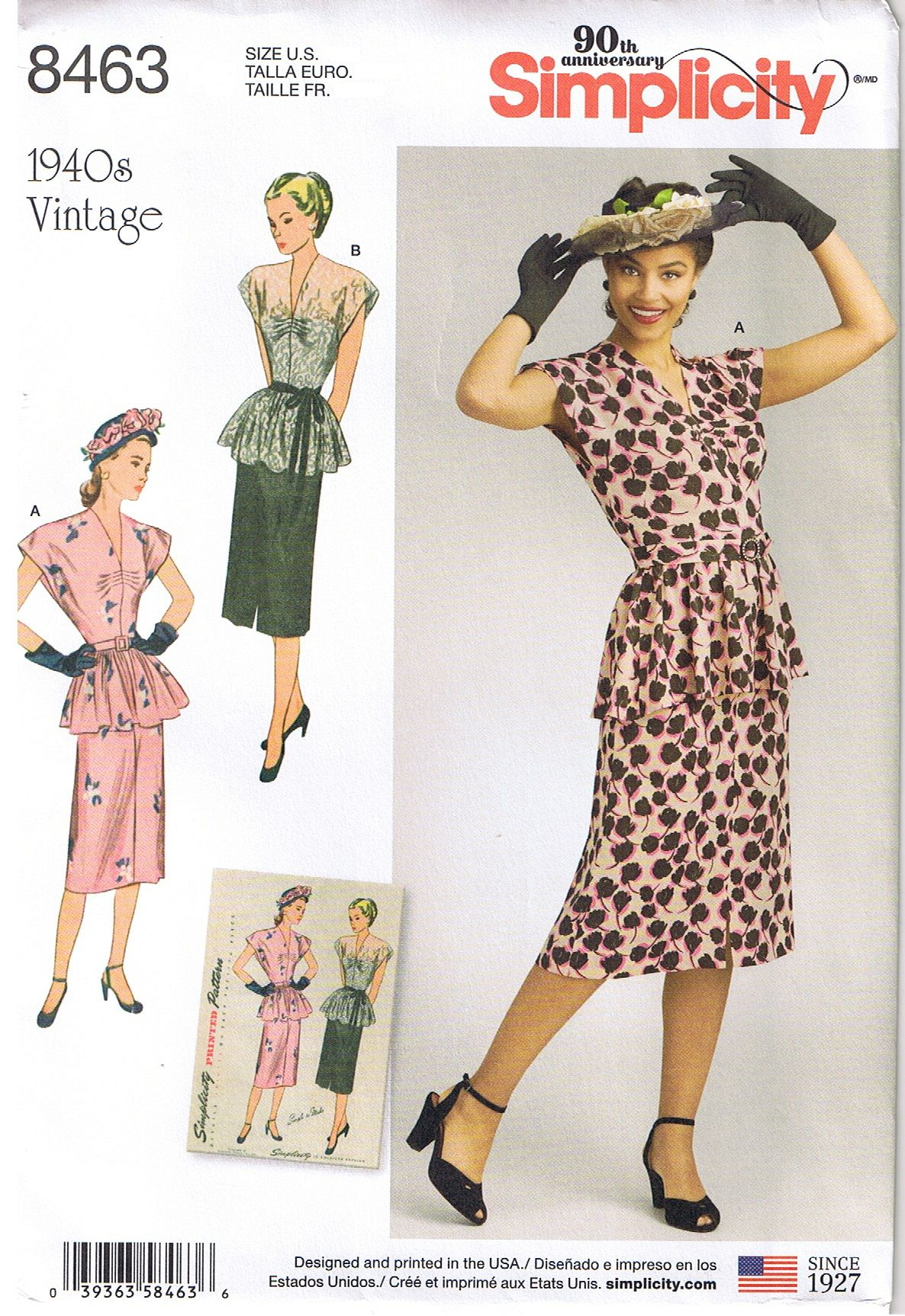 Vintage 1940s Peplum Top & Slim Skirt sewing pattern. Simplicity ...