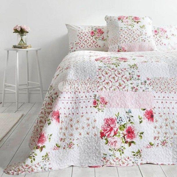 Colcha Bouti económica FLORES color rosa para cama de 90