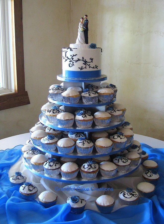 Elegant Cupcake Wedding With Cornflower Blue Roses Again Mini - Small Blue Wedding Cakes