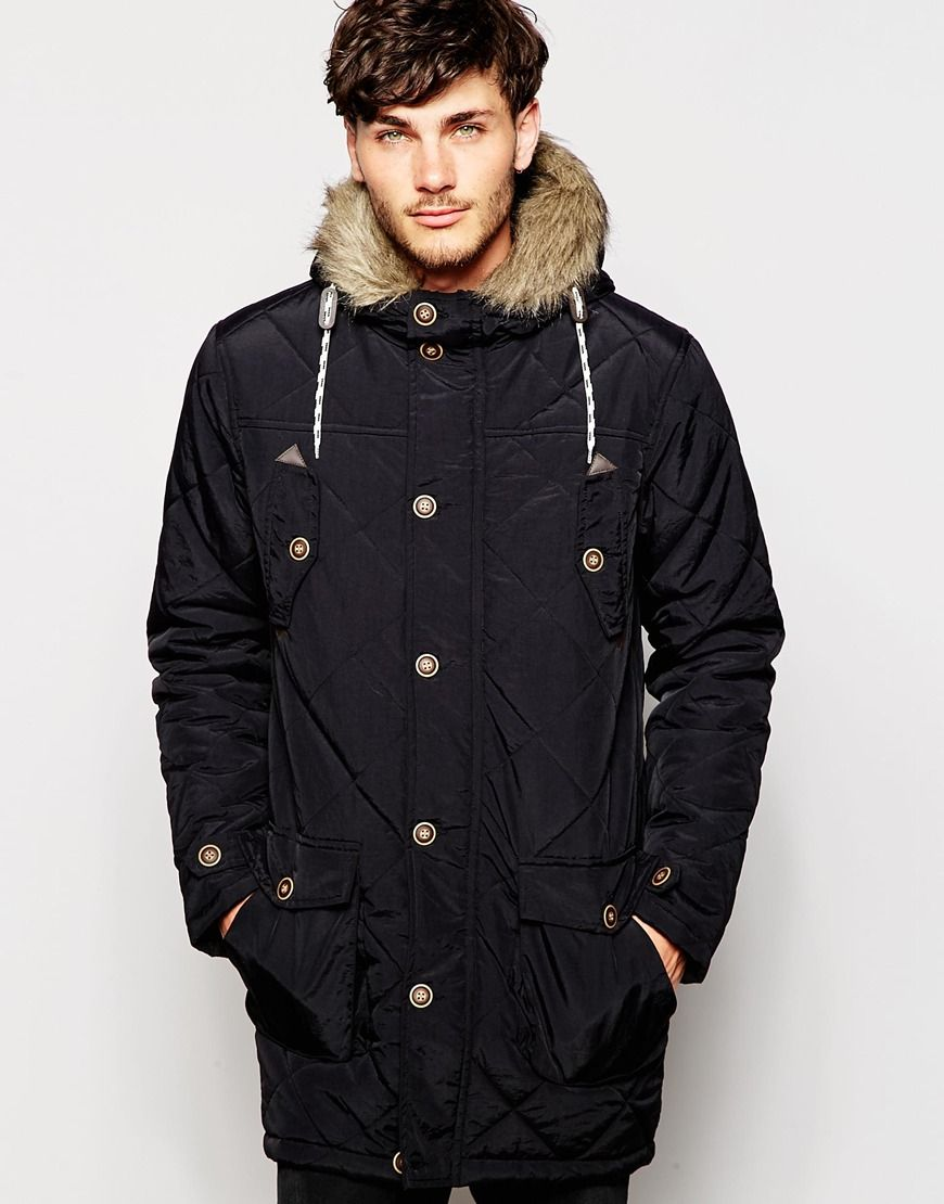 Love this? Brave Soul Faux Fur Hood Quilted Parka Jacket - Black ...