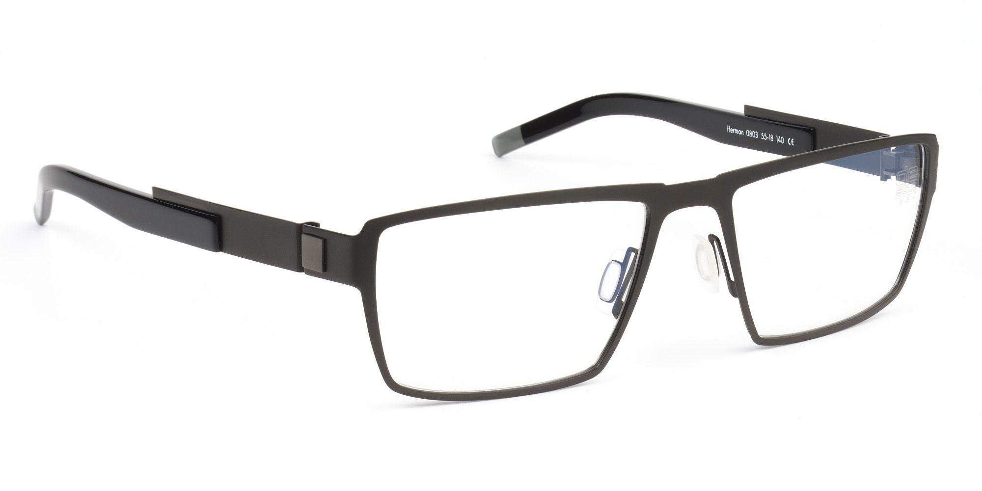 0c5166d13313 De Stijl Holland 1924 eyewear  men eyeglasses frame HERMAN in matte black  metal with black shiny plastic temples covers 0803