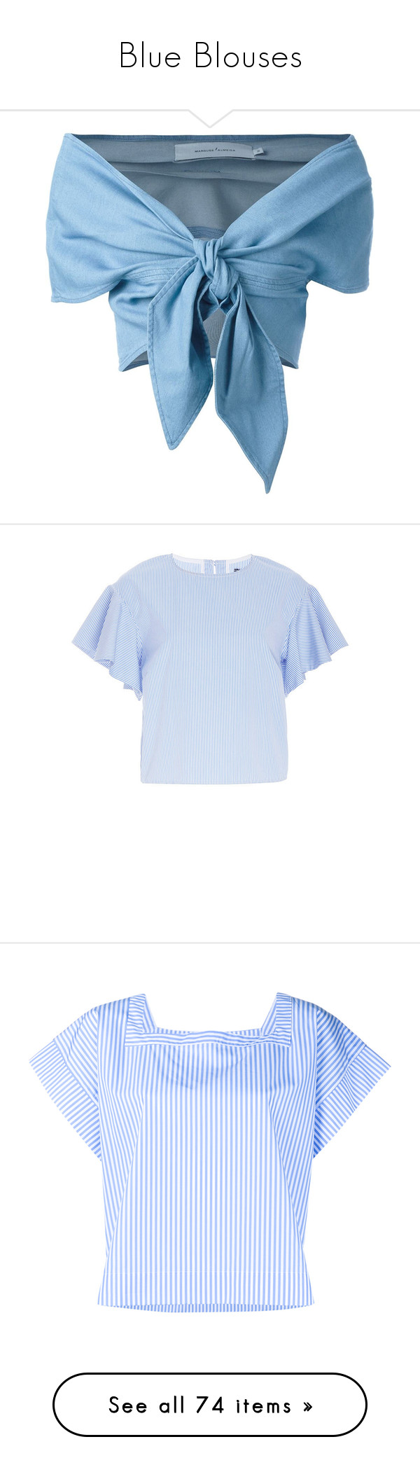 """Blue Blouses"" by kikikoji ❤ liked on Polyvore featuring tops, blue, crop top, off the shoulder tops, blue top, blue crop top, blue off the shoulder top, off shoulder crop top, white boxy top and white flutter sleeve top"