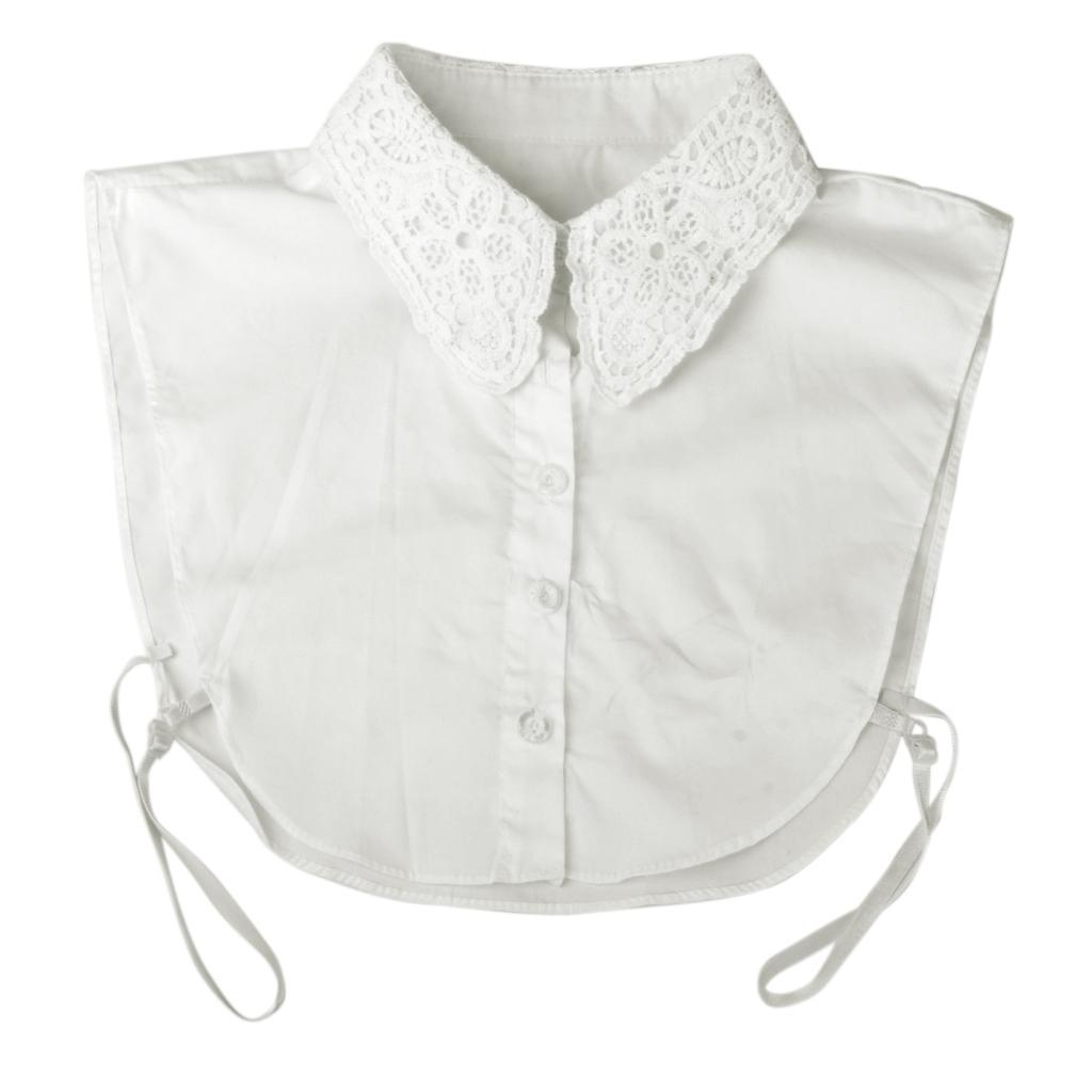 Women/'s Half Shirt Blouse Fake Collar Lace Cotton Detachable Neckline White