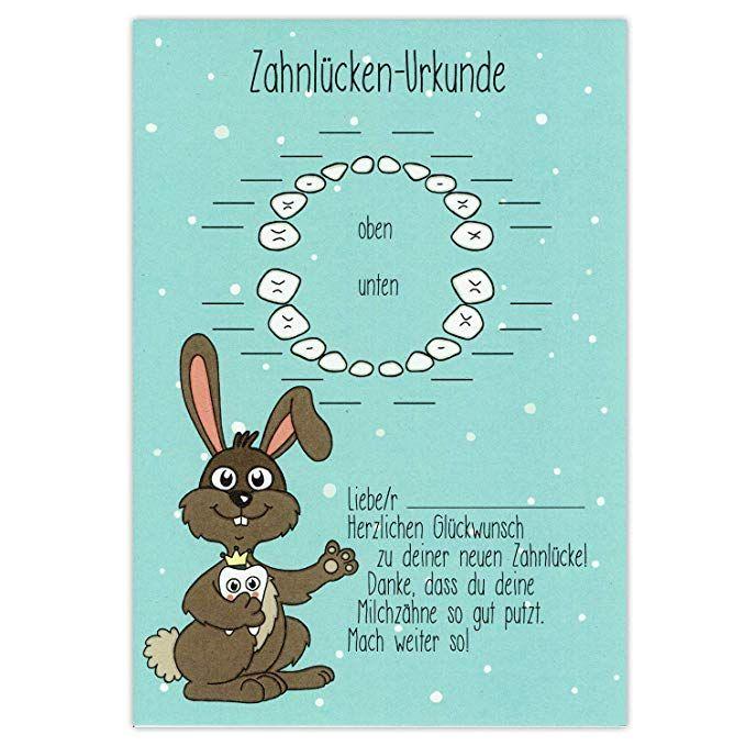 Zahnlücken Urkunde Hase Zahnfee Brief Geschenk Karte Zertifikat
