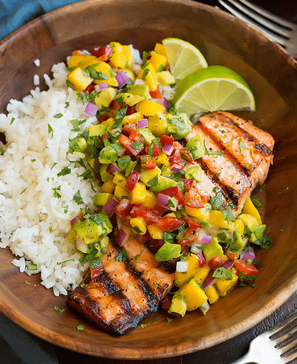 Grilled Lime Salmon with Avocado-Mango Salsa and C