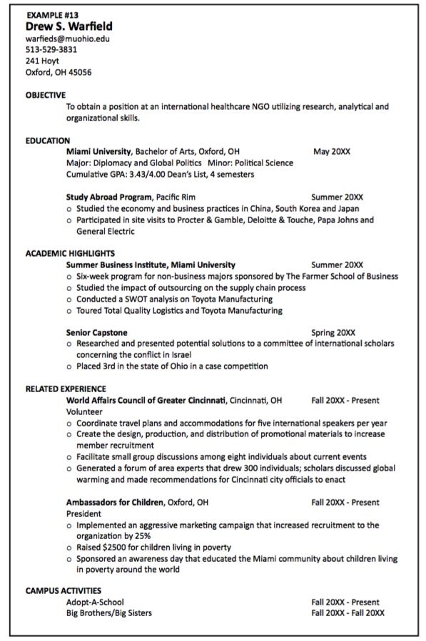 education on resume when no degree