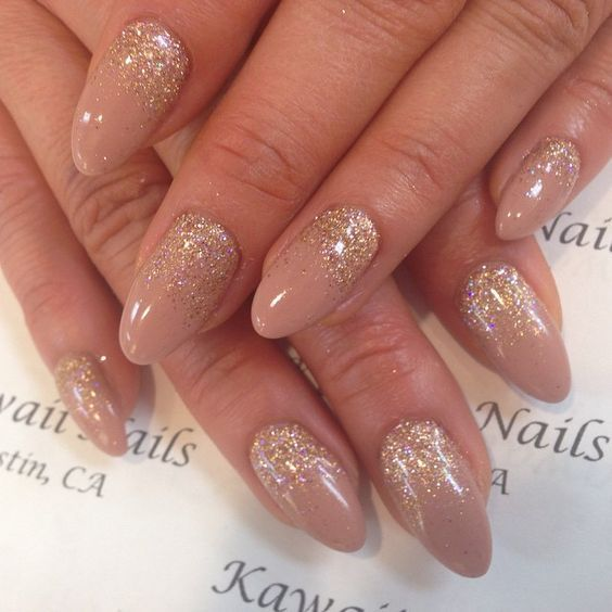 The Almond Nail Is A Beautiful Shape That Is Currently Trending In 2017 You Don T Have To Grow Your Nail Or Gold Acrylic Nails Beige Nails Ombre Nails Glitter