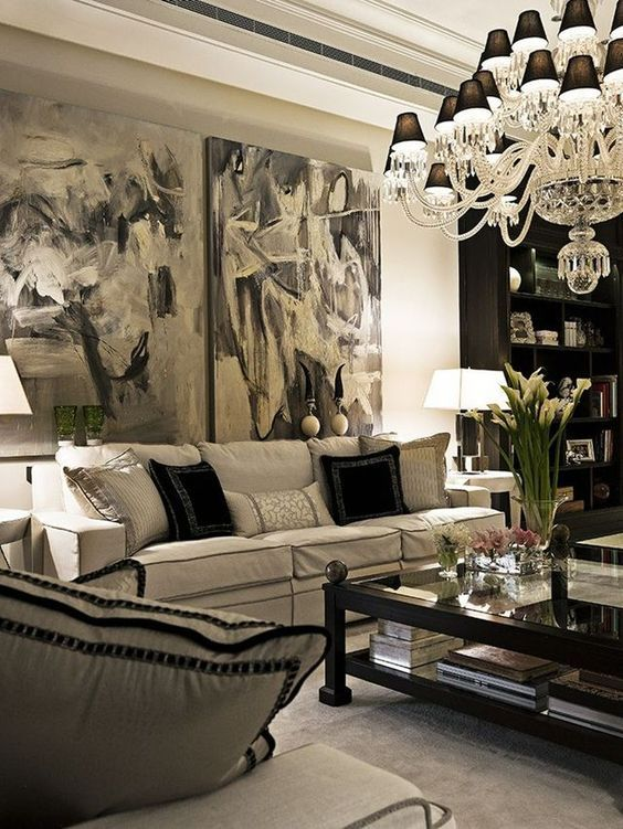 Best 9 Glam Ideas For An Elegant Living Room Black And White 400 x 300