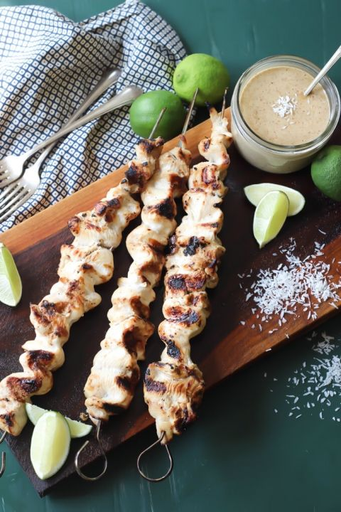 Coconut Chicken Satay with Almond Butter Dipping Sauce {Paleo} | wickedspatula.com