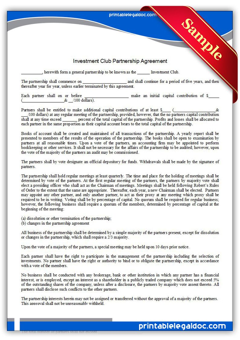 Free Printable Investment Club Partnership Agreement Form Generic