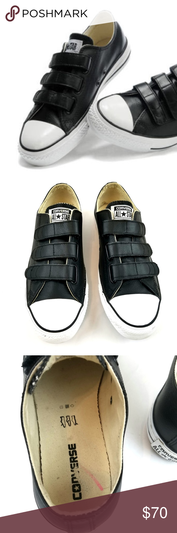 c2b7d44e12d9 Converse Black Leather All Star Low Tops Sneakers Black Leather Converse  All Star 3 Strap Velcro Black Low Tops Sneakers Converse leather 3 strap  chuck ...