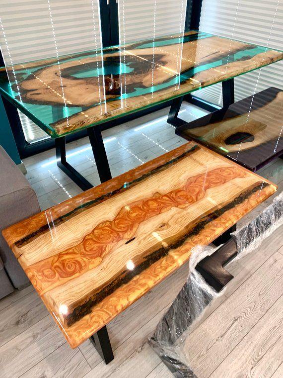 Erstaunliche SmaragdEpoxid und Holz Dinning TABLE