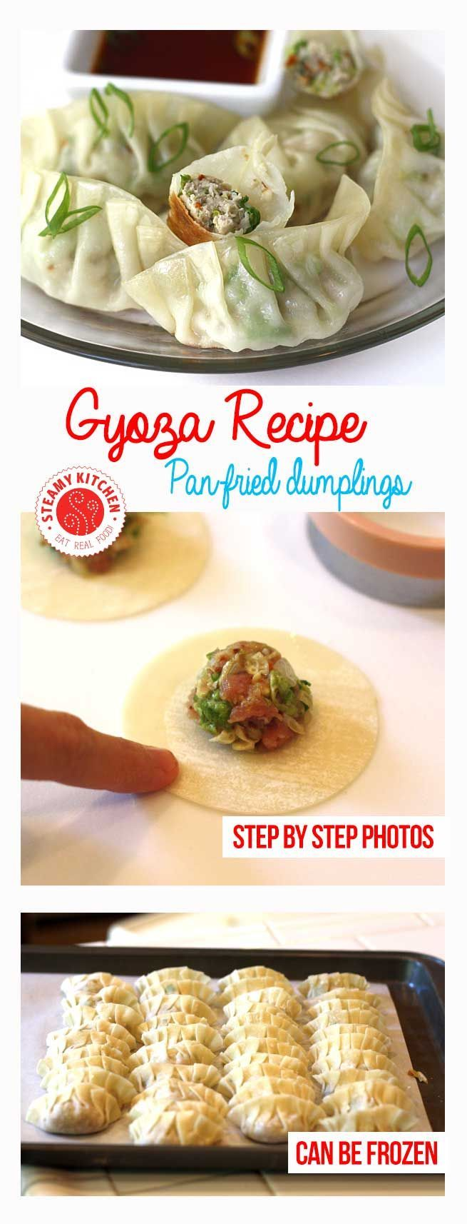Gyoza Recipe (Japanese Pan-Fried dumplings) with step by step photos ~ http://steamykitchen.com