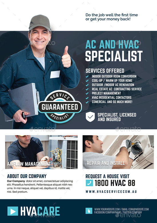 HVAC Repair and Maintenance Flyer Hvac repair, Hvac