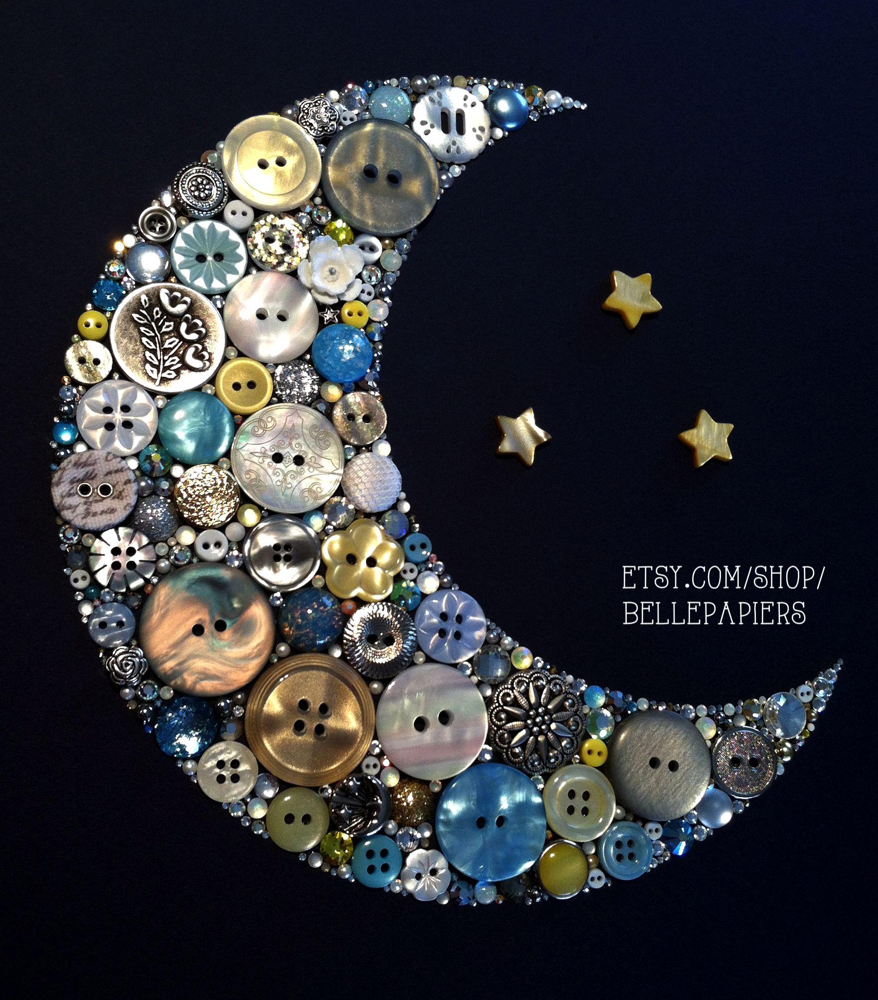 Button Art Buttons Amp Swarovskis Crescent Moon
