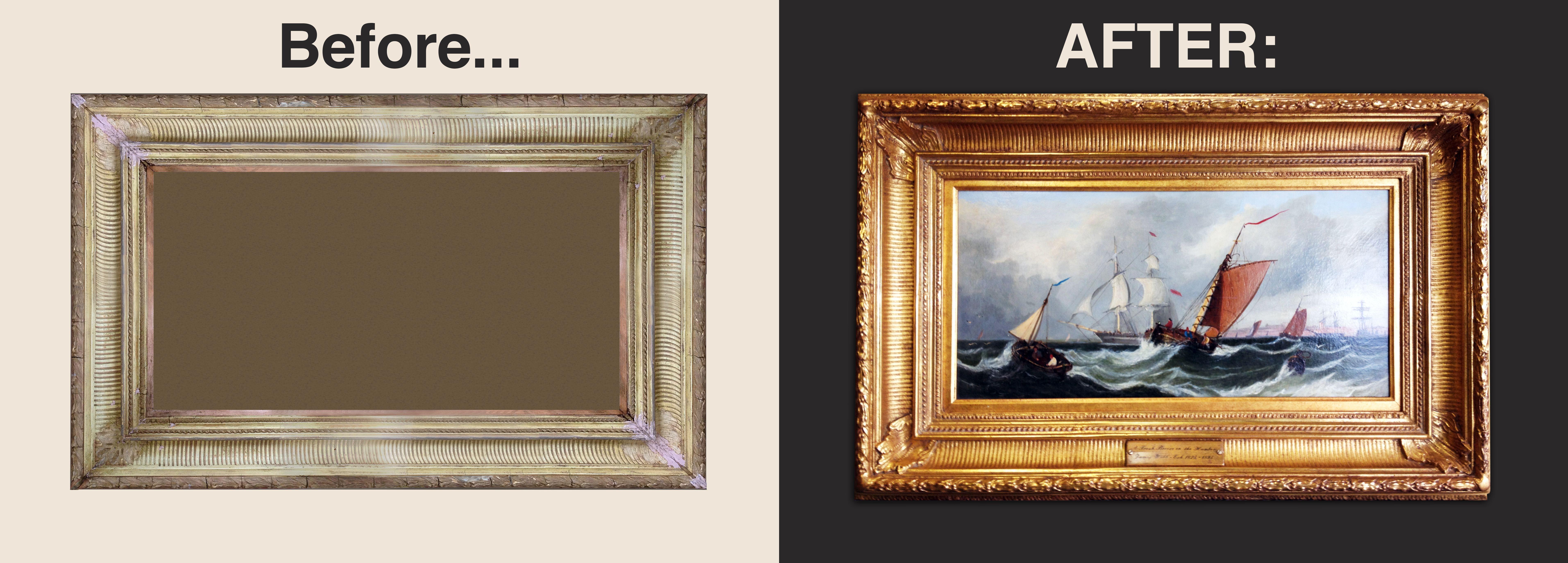 Before And After Of A 22k Gold Frame Restoration Goldleaf Framing Framerestoration Pictureframing Customframing 22kgold Gold Frame Frame Custom Framing