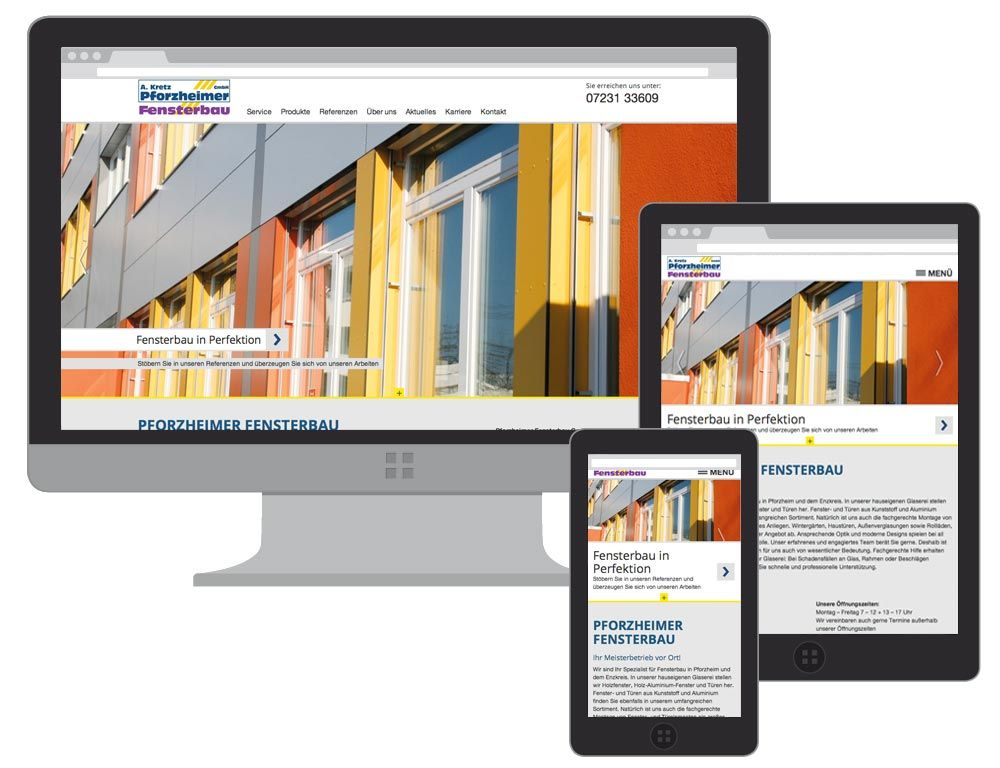 Responsive Webdesign für die Pforzheimer Fensterbau GmbH