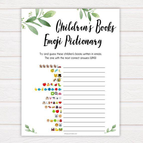 Childrens Books Emoji Pictionary Game, Printable Baby Shower Games, Baby Books Emoji Pictionary, Botanical Baby Shower Games, Baby Games GL2