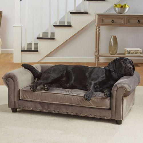 Manchester Velvet Tufted Sofa Dog Bed Grey Dog Couch Dog Sofa Bed Velvet Tufted Sofa