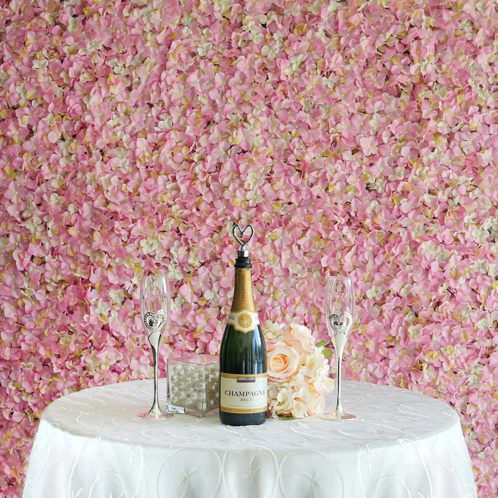 11 Sq Ft 4 Panels Uv Protected Pink Cream Hydrangea Flower Wall Panel Flower Wall Wedding Flower Wall Backdrop Flower Wall