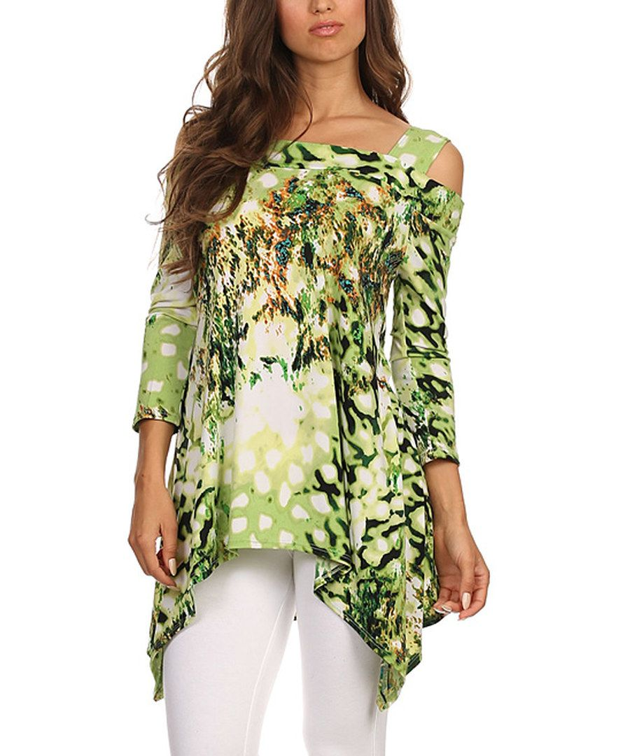 Look at this Karen T. Design Green & White Abstract Cutout Top - Women on #zulily today!