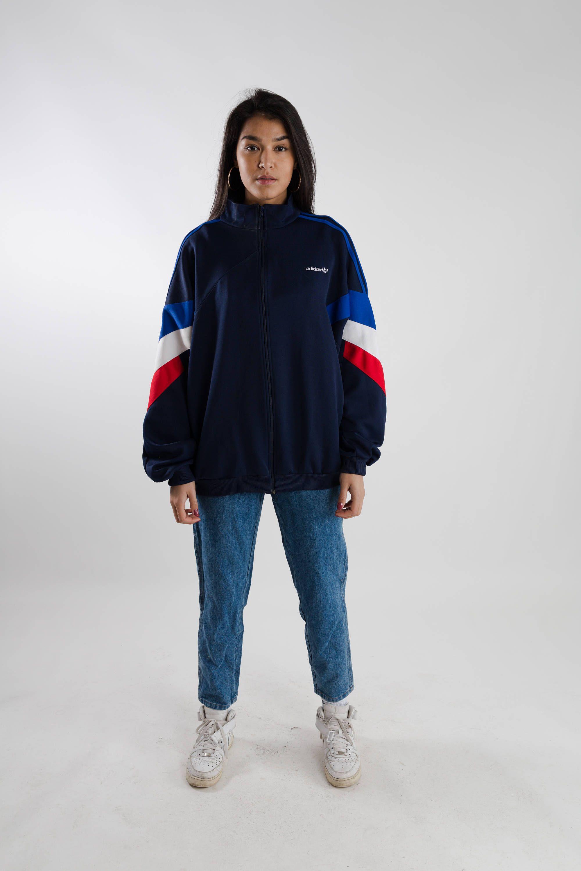 786f565b4 Vintage 90s Adidas sports jacket / Blue oversized Adidas sport ...