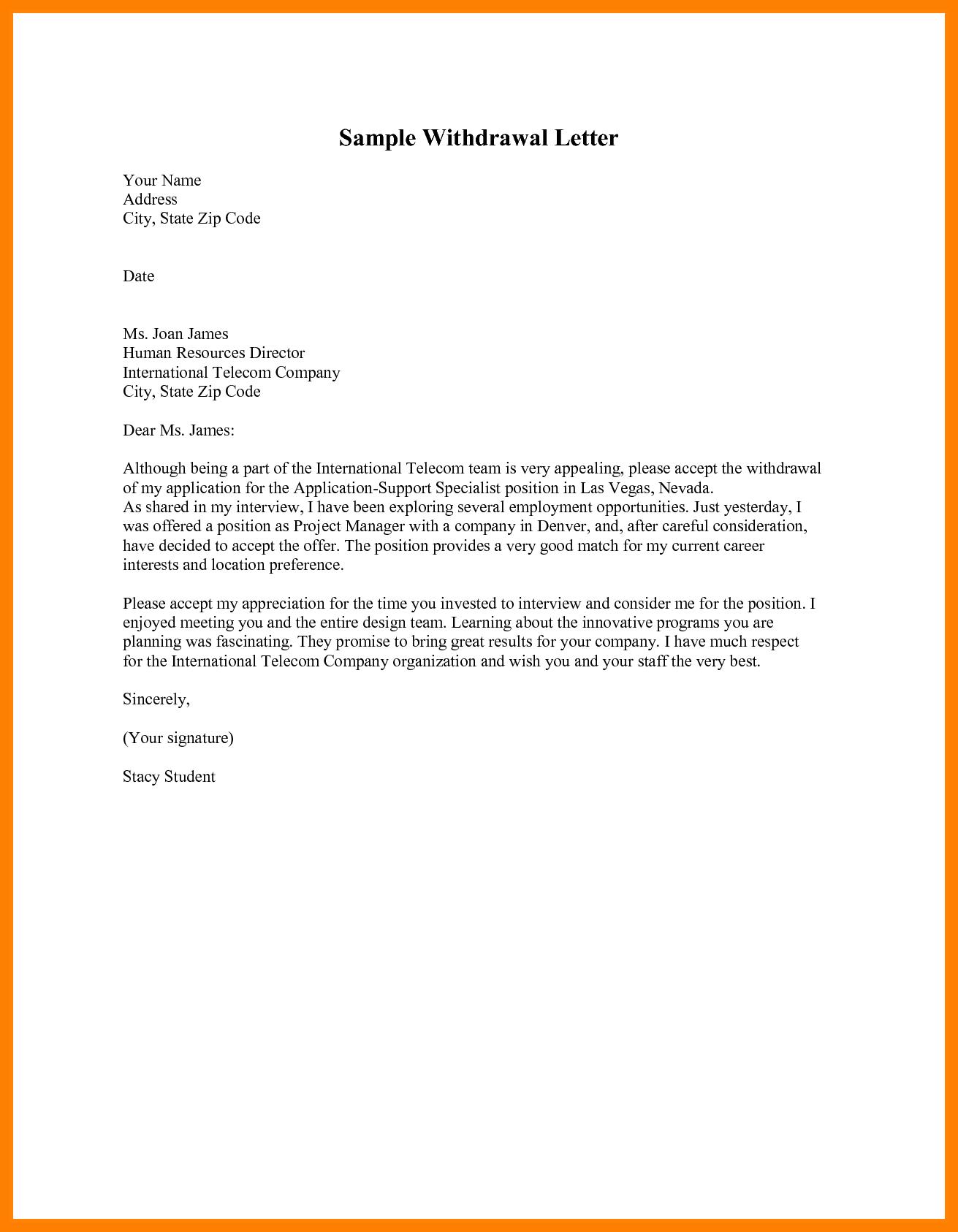 Withdrawal Resignation Letter Nurse Homed Lettersignation Method