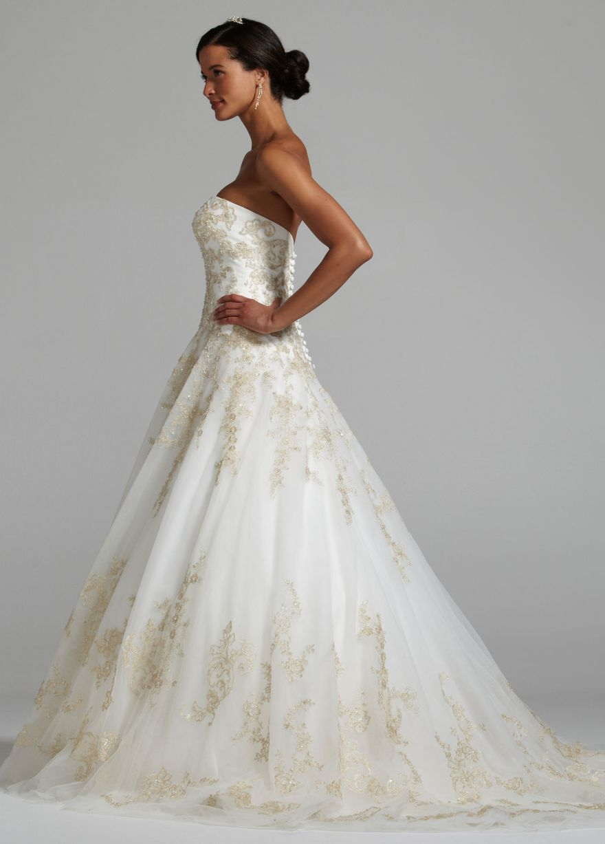 Strapless tulle wedding ball gown with allover gold lace my dream