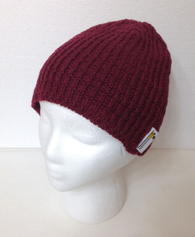 Women ABERCROMBIE KNIT HAT Maroon Dark-Red Winter Beanie Cap Crochet Ladies  OSFM  Abercrombie  Beanie  Casual 643904f76a8