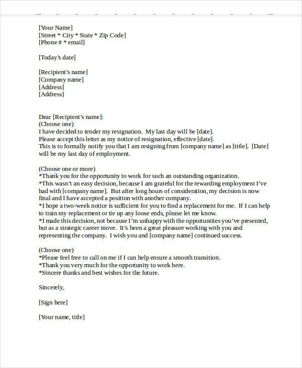 Heartfelt Resignation Letter Template  Free Word Pdf Format