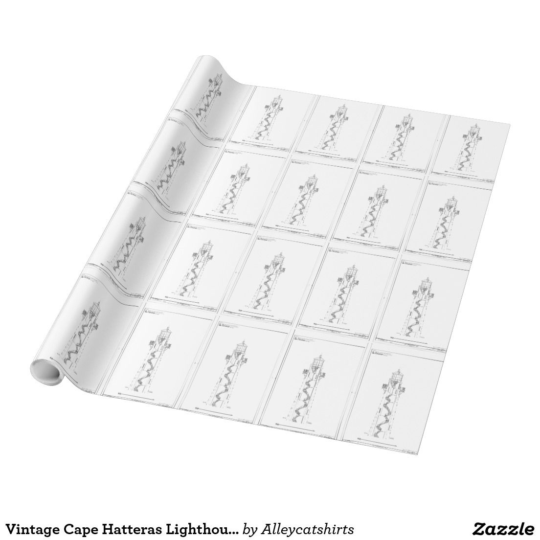 Vintage cape hatteras lighthouse blueprint 2 wrapping paper vintage cape hatteras lighthouse blueprint 2 wrapping paper malvernweather