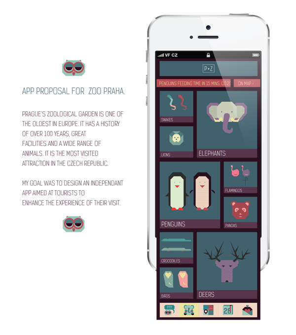 Prague Zoo App by Alina Kotova, via Behance Iphone app