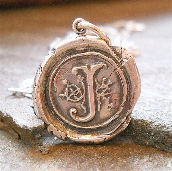 Custom Silver Wax Seal Initial Pendant by SilverInitialJewelry, $49.00