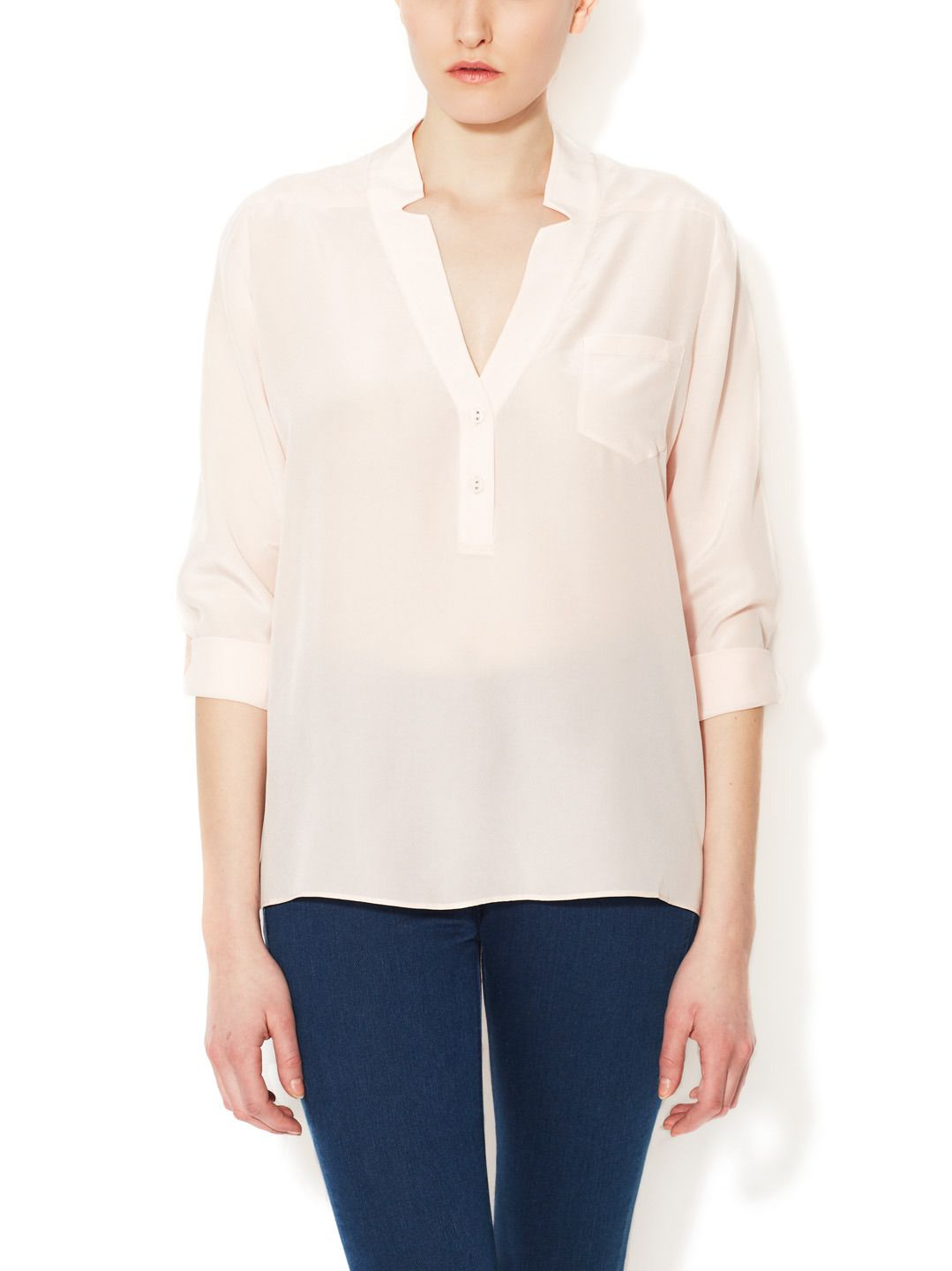 Silk Notched Henley Pocket Blouse by Zoe & Sam at Gilt