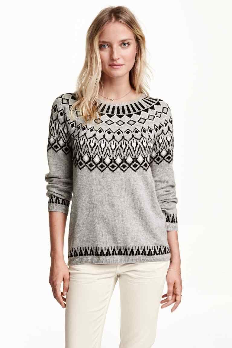 Jersey en punto de jacquard | H&M | tejidos mujer | Pinterest ...