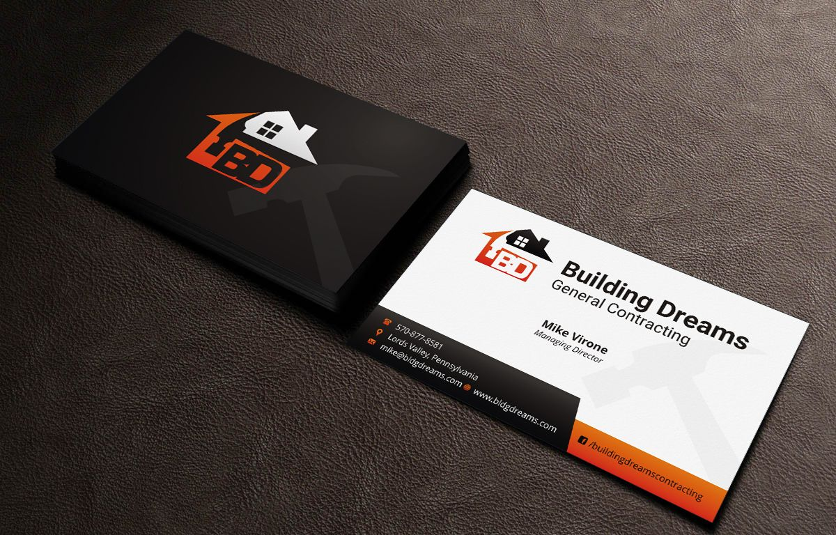 Building Dreams General Contracting Business Card Business Cards Business Card Design Card Design