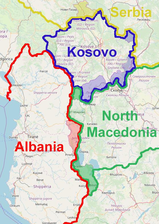 Ethnic redrawing of the maps of Kosovo, Albania, N Macedonia