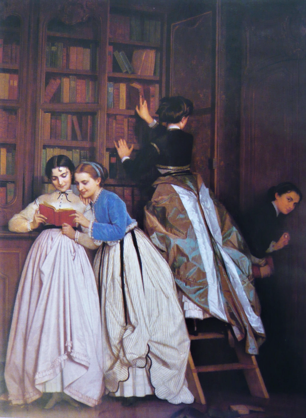 "mariaslozak:  "" Forbidden Fruit (Le Fruit Défendu) by Auguste Toulmouche, 1865, illustrating how young women have always rebelled against having their access to knowledge policed.  Nineteenth-century French and British families kept a close eye on the..."