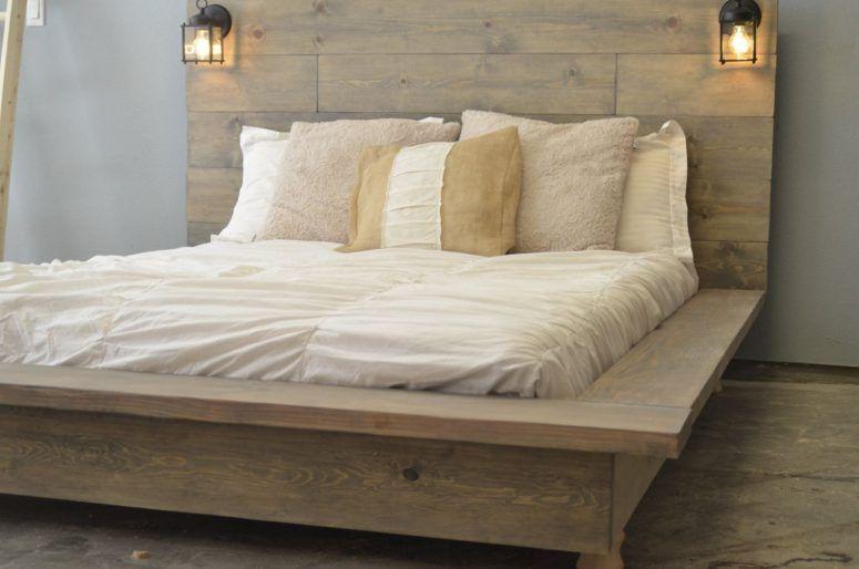 Bedroom Rustic Wooden Platform Bed Black Fabric Covered Frames