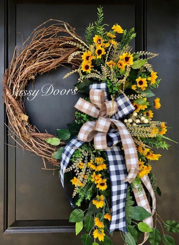 Photo of Sunflower wreath, sunflower wreath, summer wreath, front door wreath, SassyDoors wreath,
