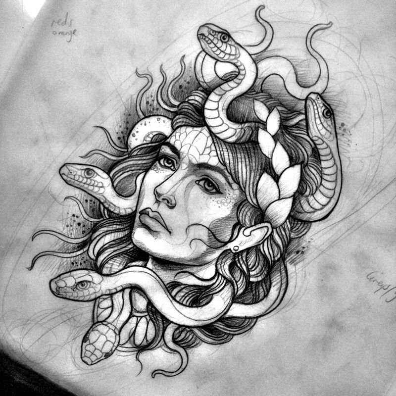 8d554ae7038d9 woman and snake tattoo - Google Search … | Projects to Try | Medus…