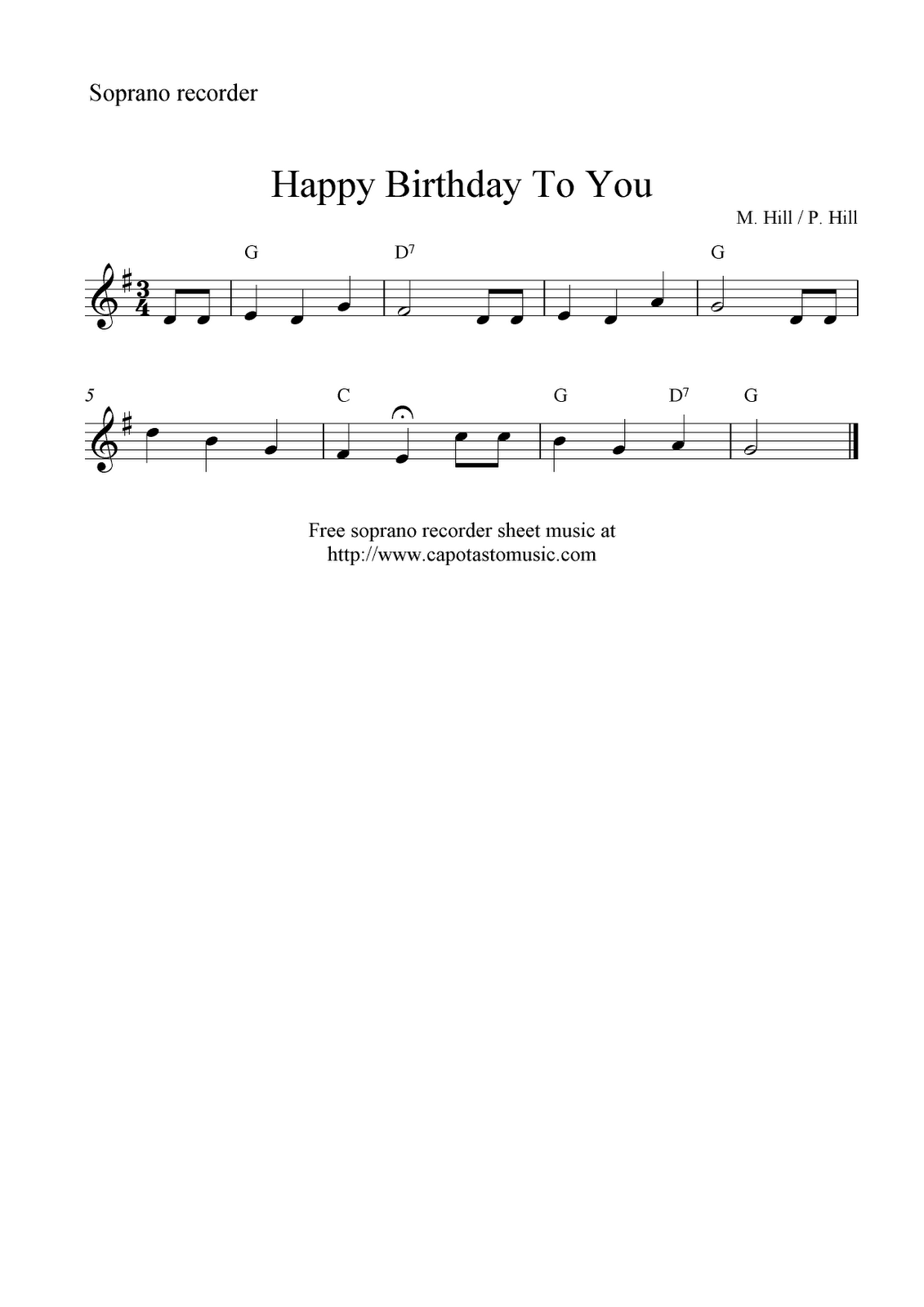 Free Sheet Music Scores Happy Birthday To You Free Soprano Recorder Sheet Music Notes