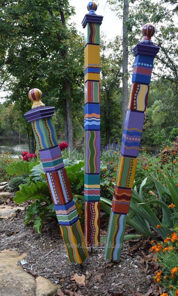 Garden Totems Hand Painted Garden Art Garden Sculpture