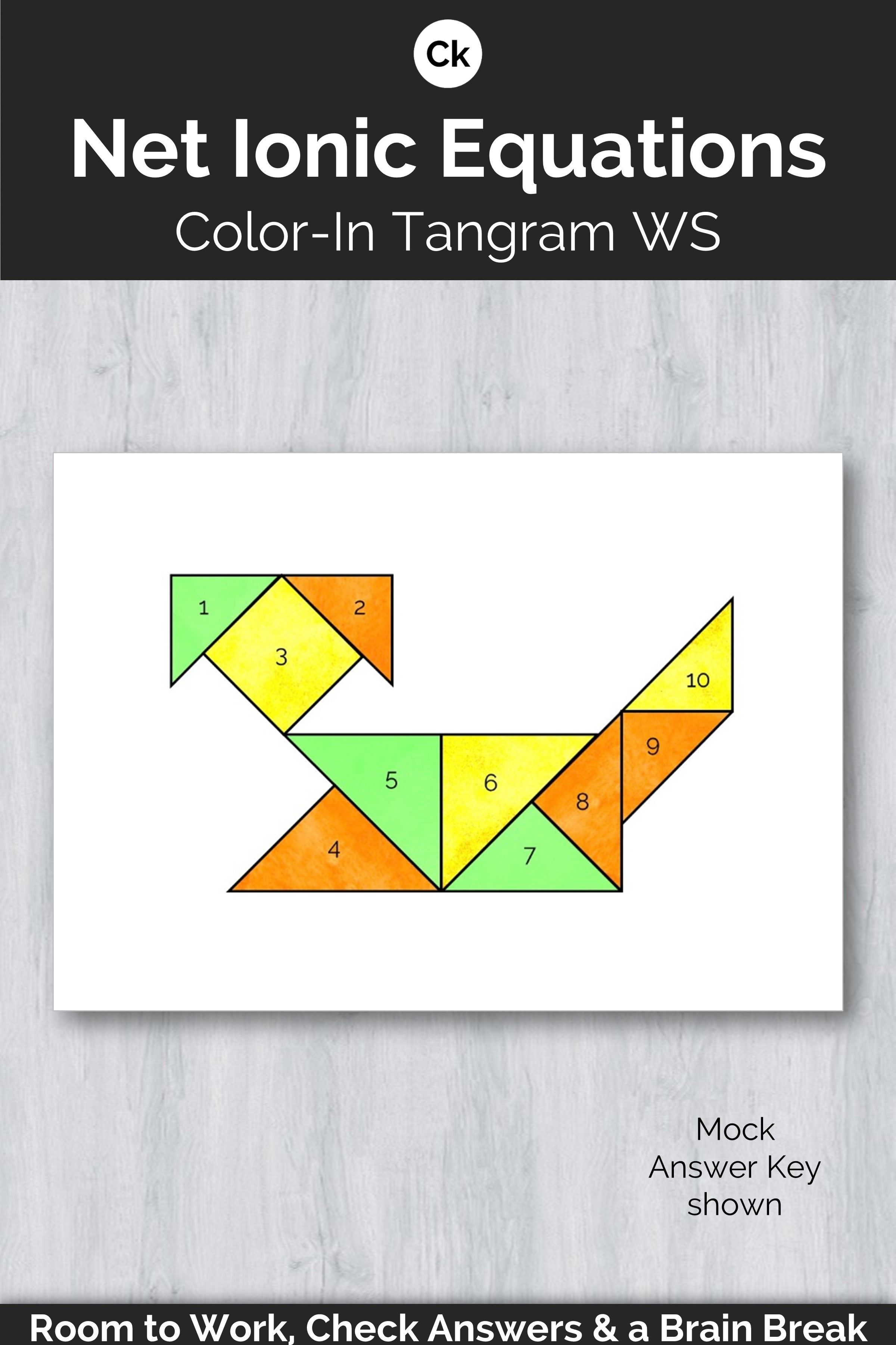 Net Ionic Equations Color In Tangram Worksheet