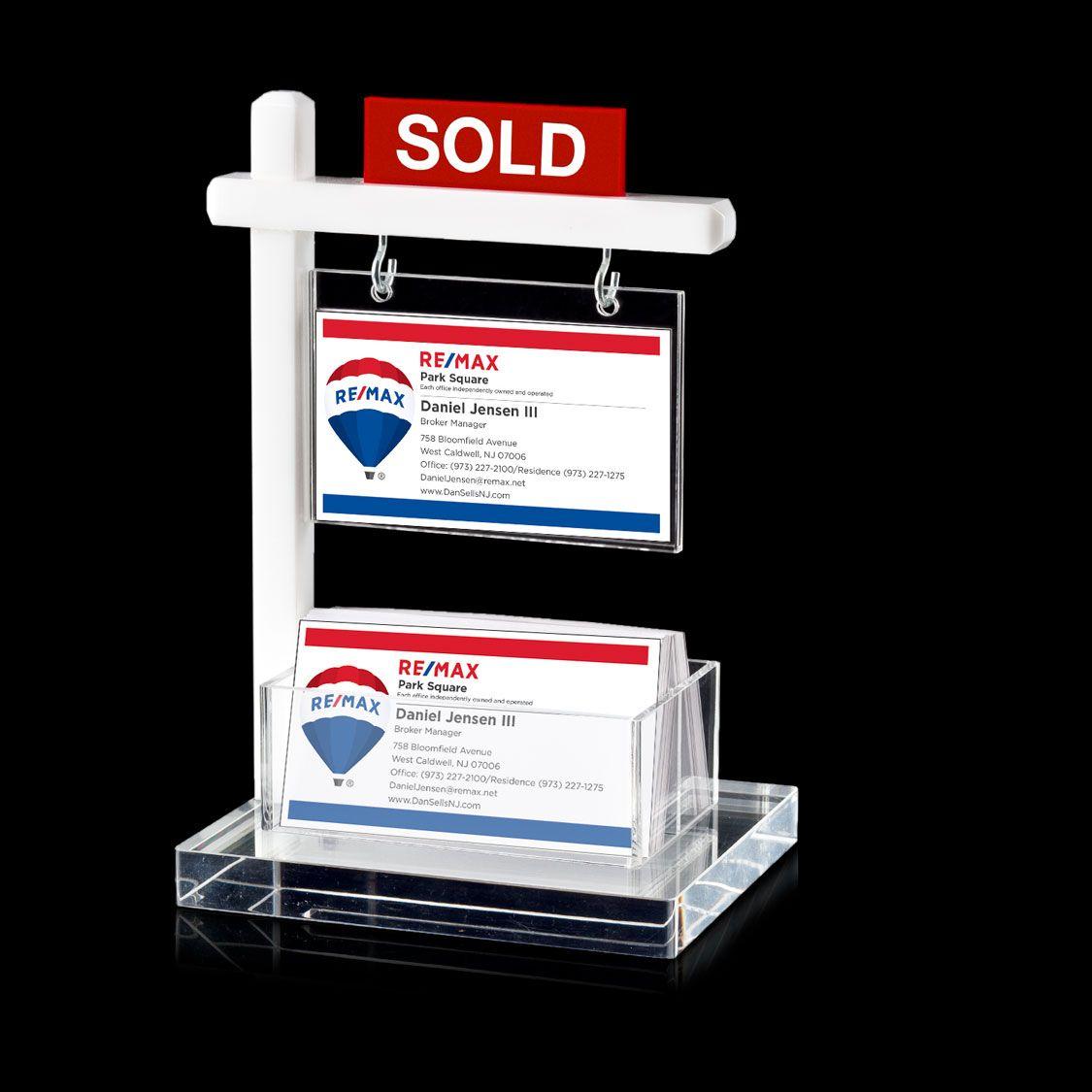 Mini Real Estate Sign & Business Card Holder (White) | Real estate ...