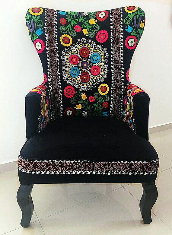 Beautiful Suzani and Velvet Victorian Armchair. Vintage